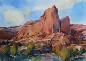 Red Rock Cloud Scraper, Arizona 29x41 inches watercolor on paper