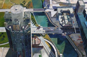 Over The Top, Chicago Oil on Linen, 42x72 inches