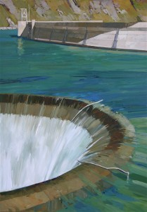 Glory Hole, Lake Berryessa, 68x38 inches oil on linen