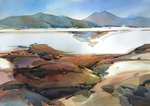 Dry Lakebed, Northern Nevada 29x41 inches watercolor on paper