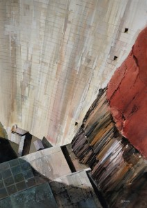 Red Rock and Concrete, Glen Canyon Dam 41x29 inches, water-media on paper
