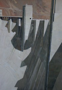 Sightseers, Hoover Dam 68x38 inches, oil on linen