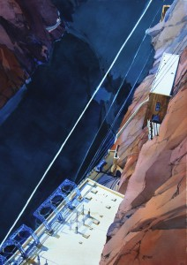 White Diagonals, Hoover Dam 41x29 inches, water-media on paper