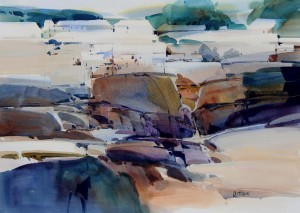 Misty Mendocino 22x30inches, watercolor on paper